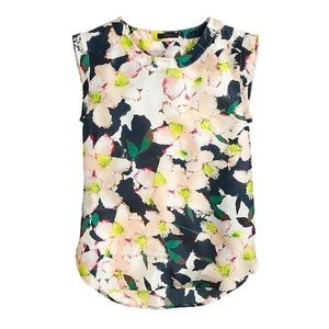 J. Crew Sleeveless Drapey Blouse in Cove Floral-6